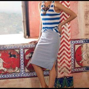 J Crew Seersucker Pencil Skirt w/Side Slits
